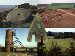 A mill, a wheel, a digging site and a field