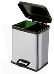 silver recycling bin with double compartments