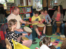Drumming workshop at Duffield Library