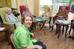 Amber with Meadow View residents